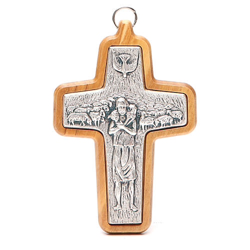 Krzyż pektoralny metal drewno oliwne 12x8.5 cm 1