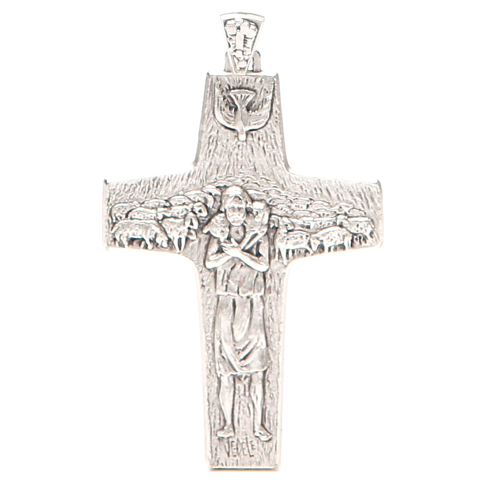 Cruz pectoral Buen Pastor metal 10x7 cm 3