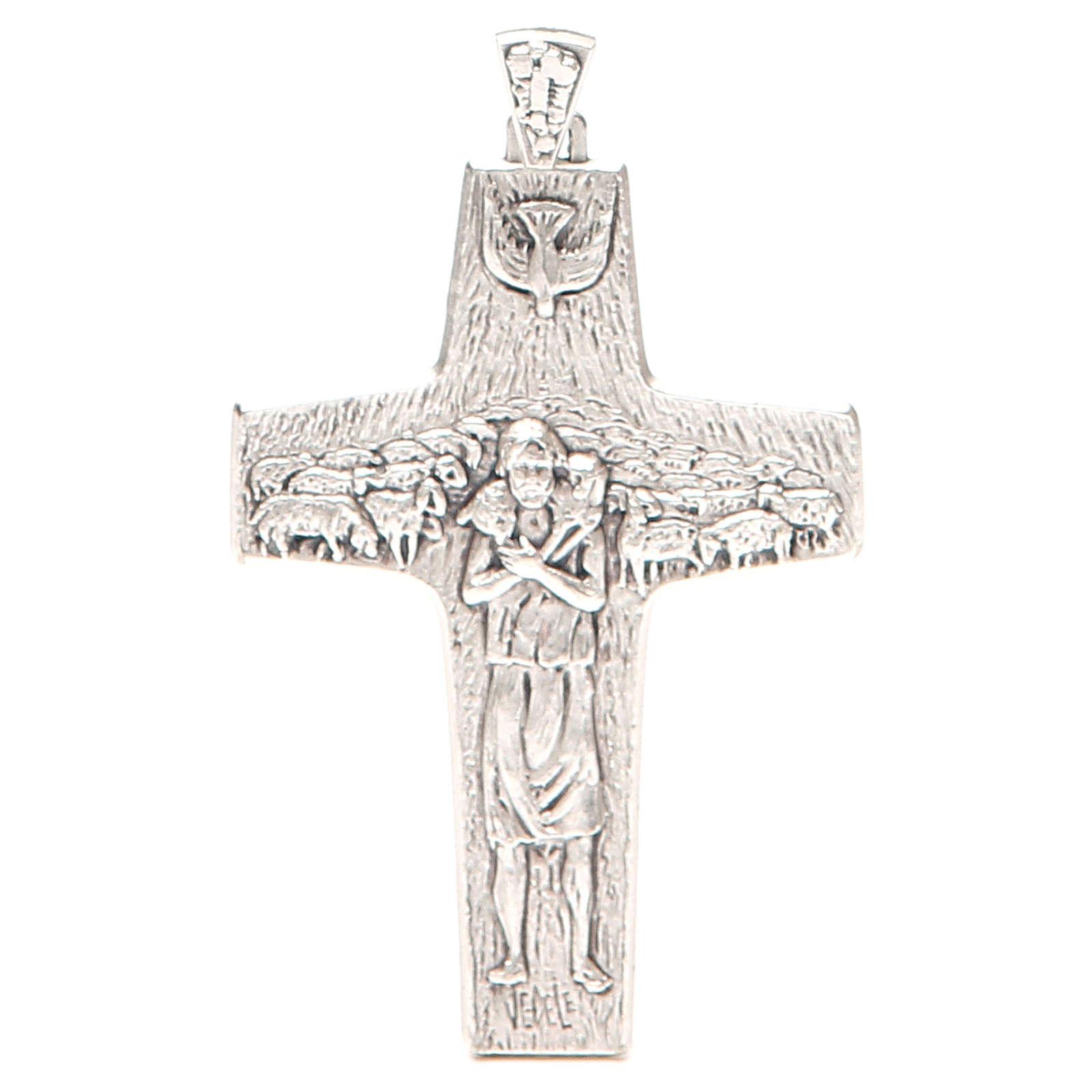 Croix pectorale Bon Pasteur métal 10x7 cm 3