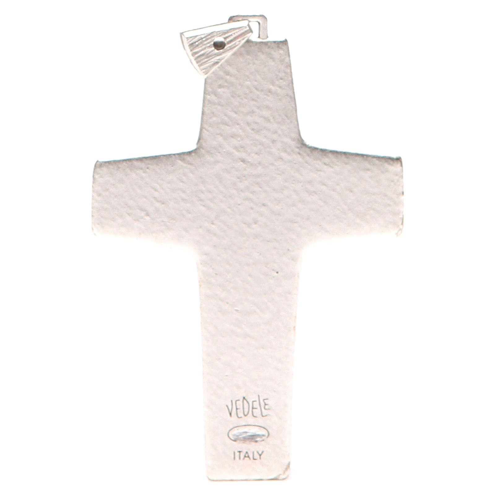 Krzyż pektoralny Dobry Pasterz metal 10x7 cm 3