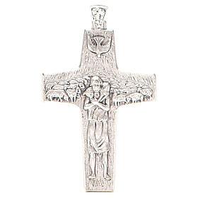 Krzyż pektoralny Dobry Pasterz metal 10x7 cm s1