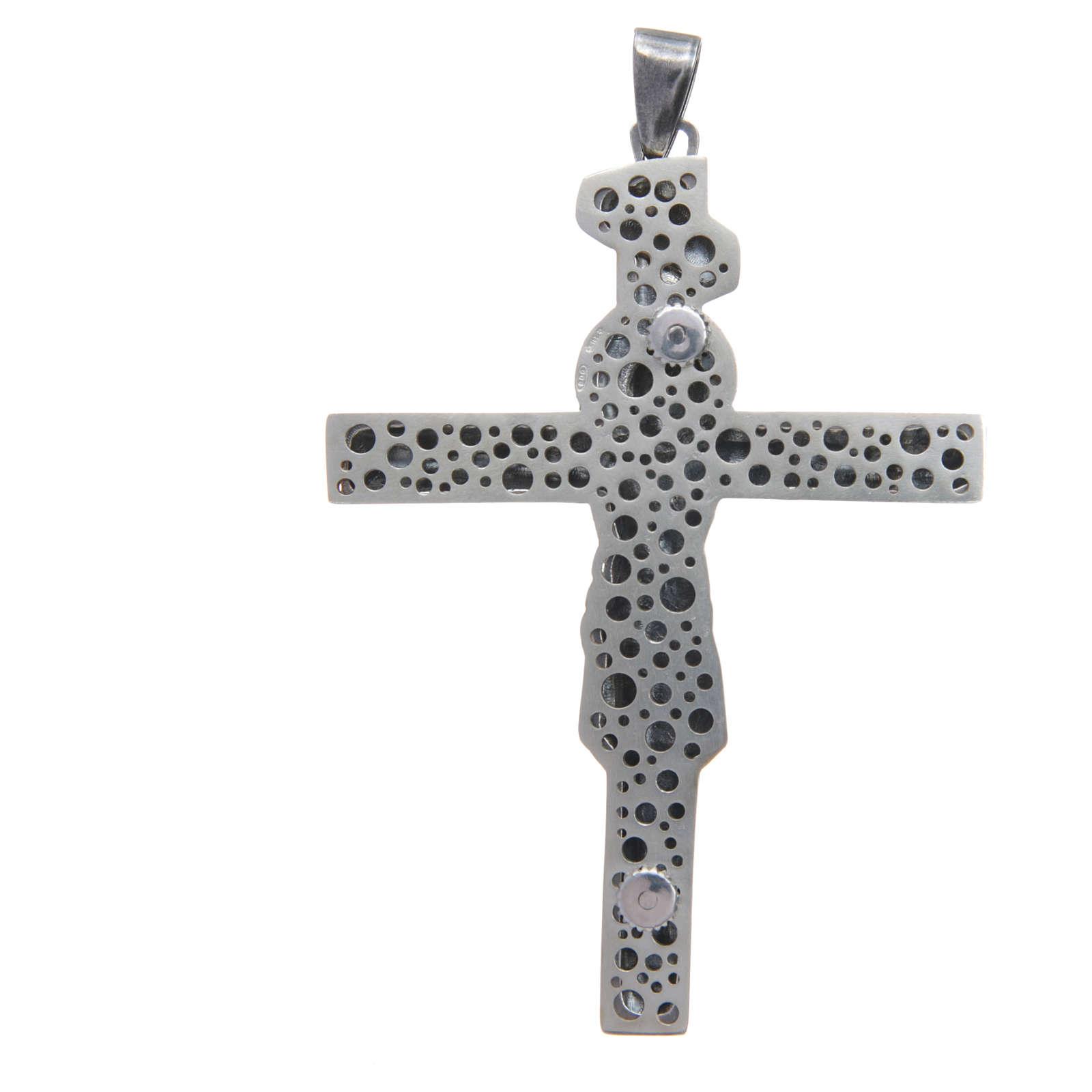 Croce pettorale crocifisso in argento 800 brunito 8,5x6,5 cm 3