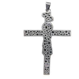Croce pettorale crocifisso in argento 800 brunito 8,5x6,5 cm s2
