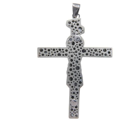 Croce pettorale crocifisso in argento 800 brunito 8,5x6,5 cm 2
