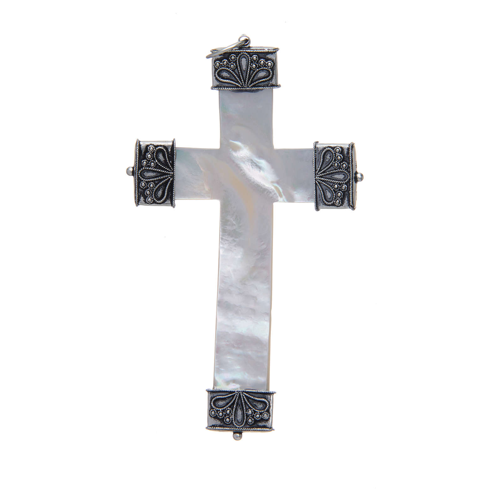 Croce pettorale madreperla e argento 800 3