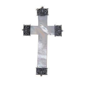Croce pettorale madreperla e argento 800 s2