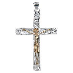 Croce pettorale Crocefisso bicolore Argento 925 s1