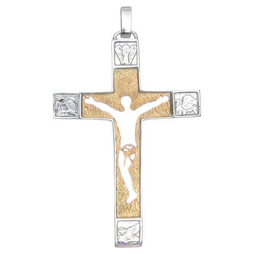 Cruz pectoral Crucifijo Plata 925 bicolor Cuerpo Perforado 1