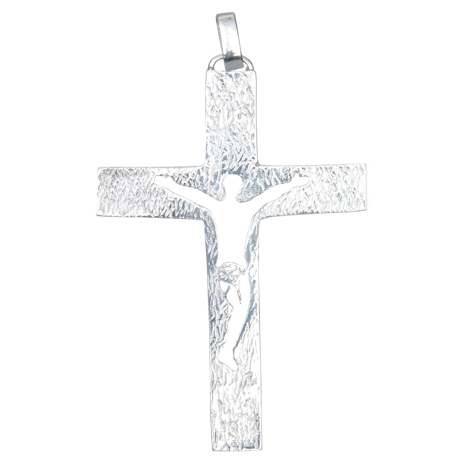 Croce pettorale Argento 925 bicolore con corpo traforato 3