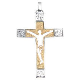 Croce pettorale Argento 925 bicolore con corpo traforato s1