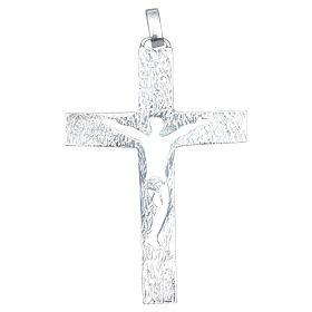 Croce pettorale Argento 925 bicolore con corpo traforato s2