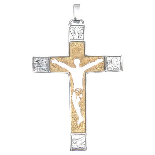 Croce pettorale Argento 925 bicolore con corpo traforato 1