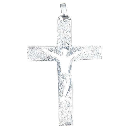 Croce pettorale Argento 925 bicolore con corpo traforato 2