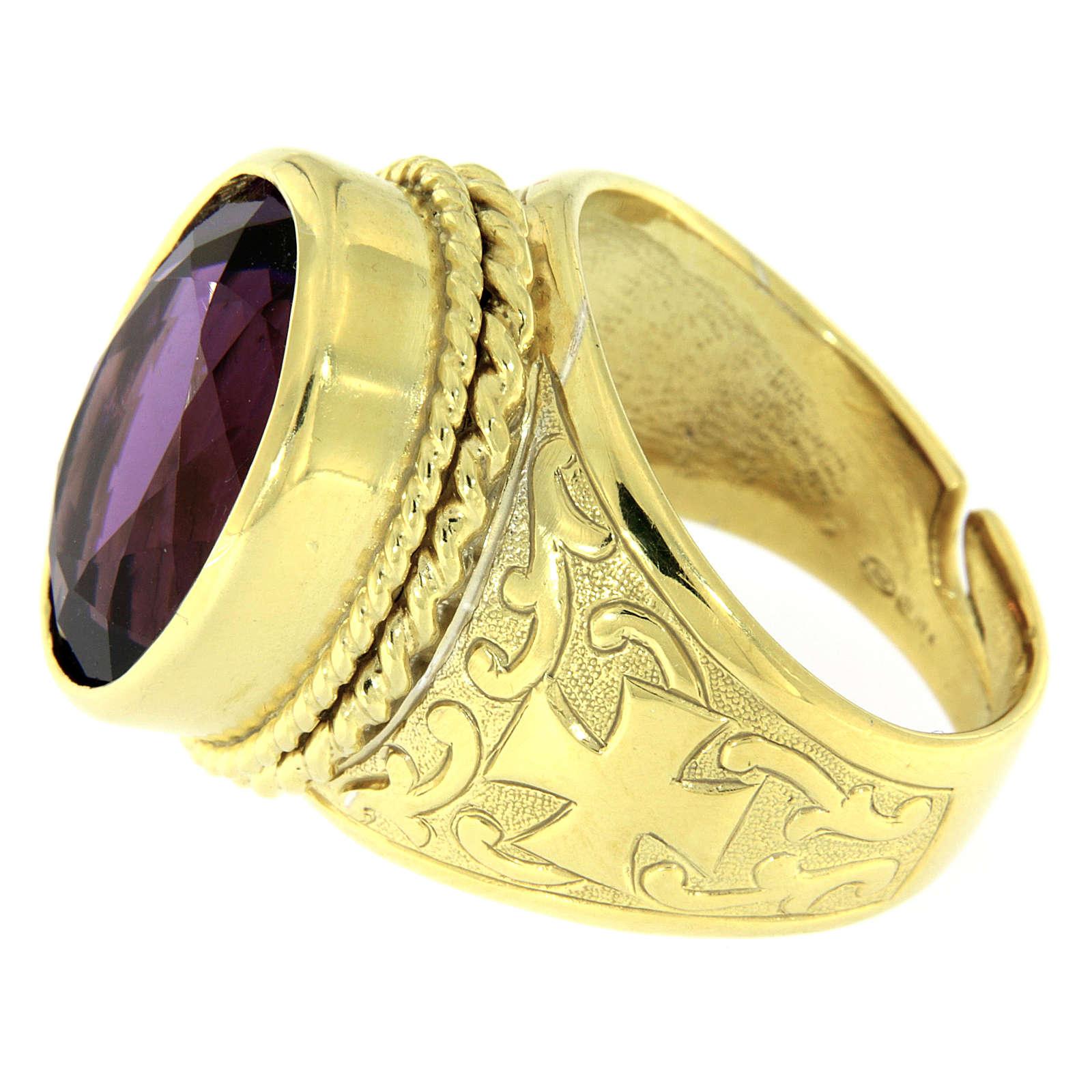 Anello con Ametista Argento 925 bagno oro 3