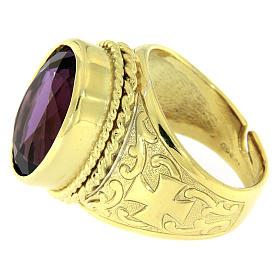Anello con Ametista Argento 925 bagno oro s3