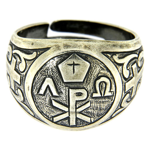 Anello simbolo Pax Argento 925 anticato 2