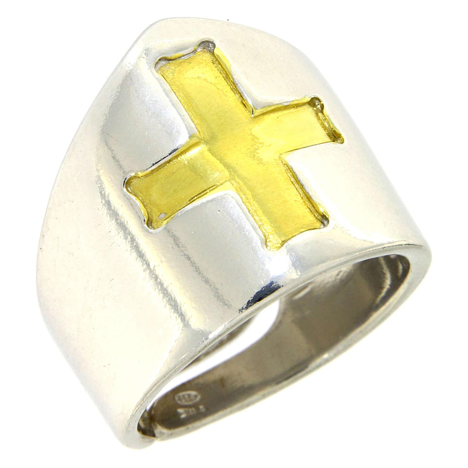 Anello Vescovile croce Argento 925 bicolore 3