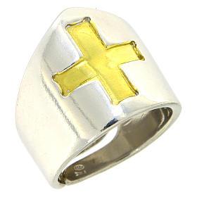 Anello Vescovile croce Argento 925 bicolore s1