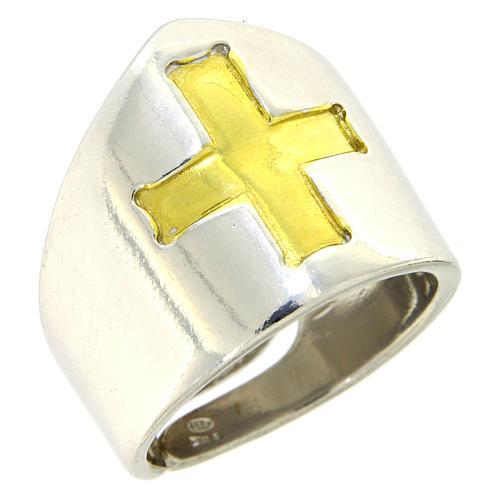 Anello Vescovile croce Argento 925 bicolore 1