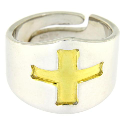 Anello Vescovile croce Argento 925 bicolore 2
