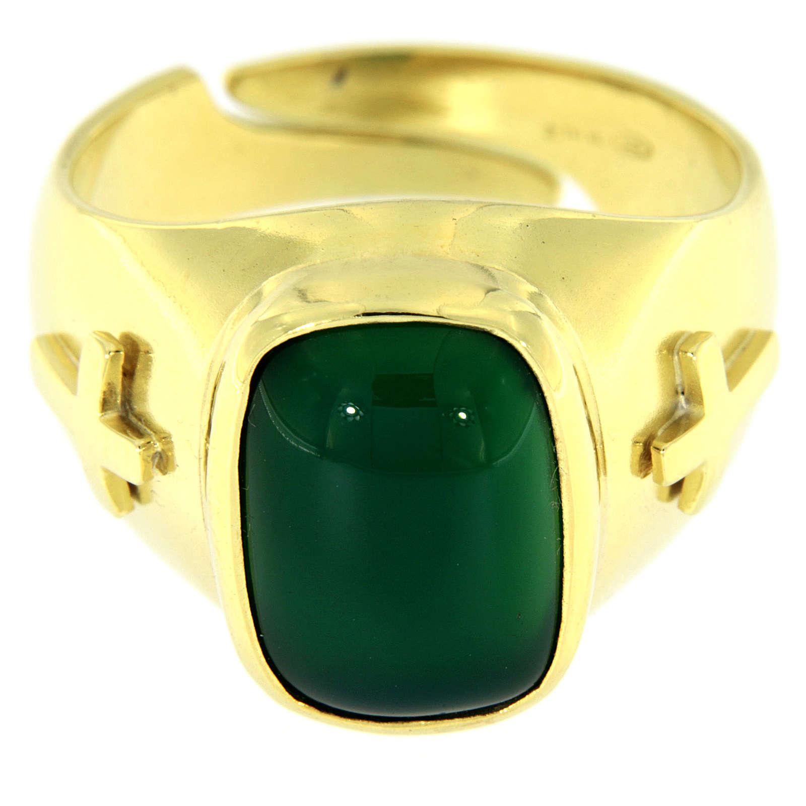 Anello con agata verde Argento 925 dorato 3