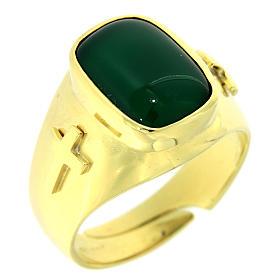 Anello con agata verde Argento 925 dorato s1