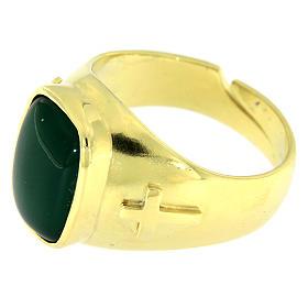 Anello con agata verde Argento 925 dorato s3