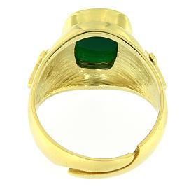 Anello con agata verde Argento 925 dorato s4
