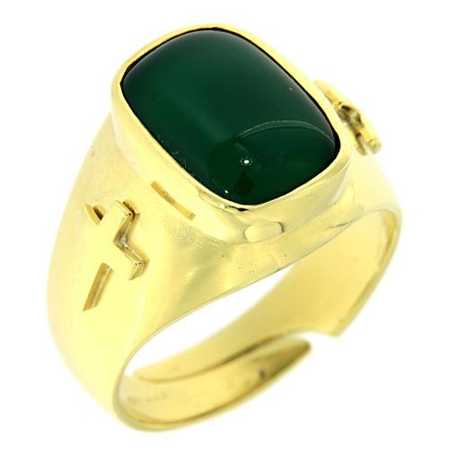 Anello con agata verde Argento 925 dorato 1