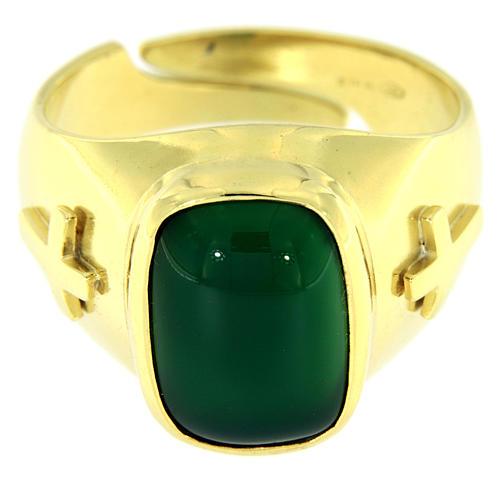 Anello con agata verde Argento 925 dorato 2