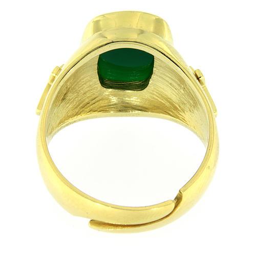 Anello con agata verde Argento 925 dorato 4