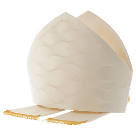 Mitre in wool and silk Jacquard, white and ivory s4