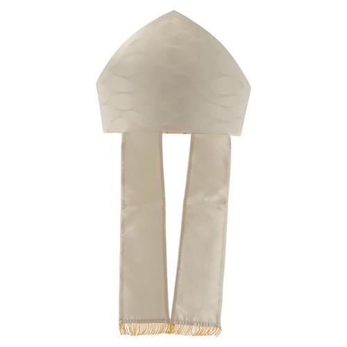 Mitria bianca avorio lana seta Jacquard 5