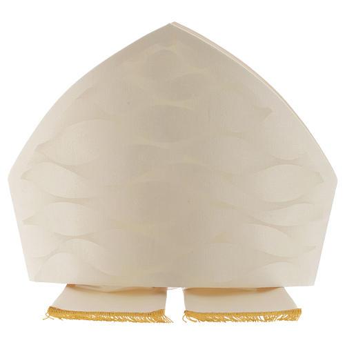 Mitra biała kość słoniowa wełna jedwab Jacquard 2