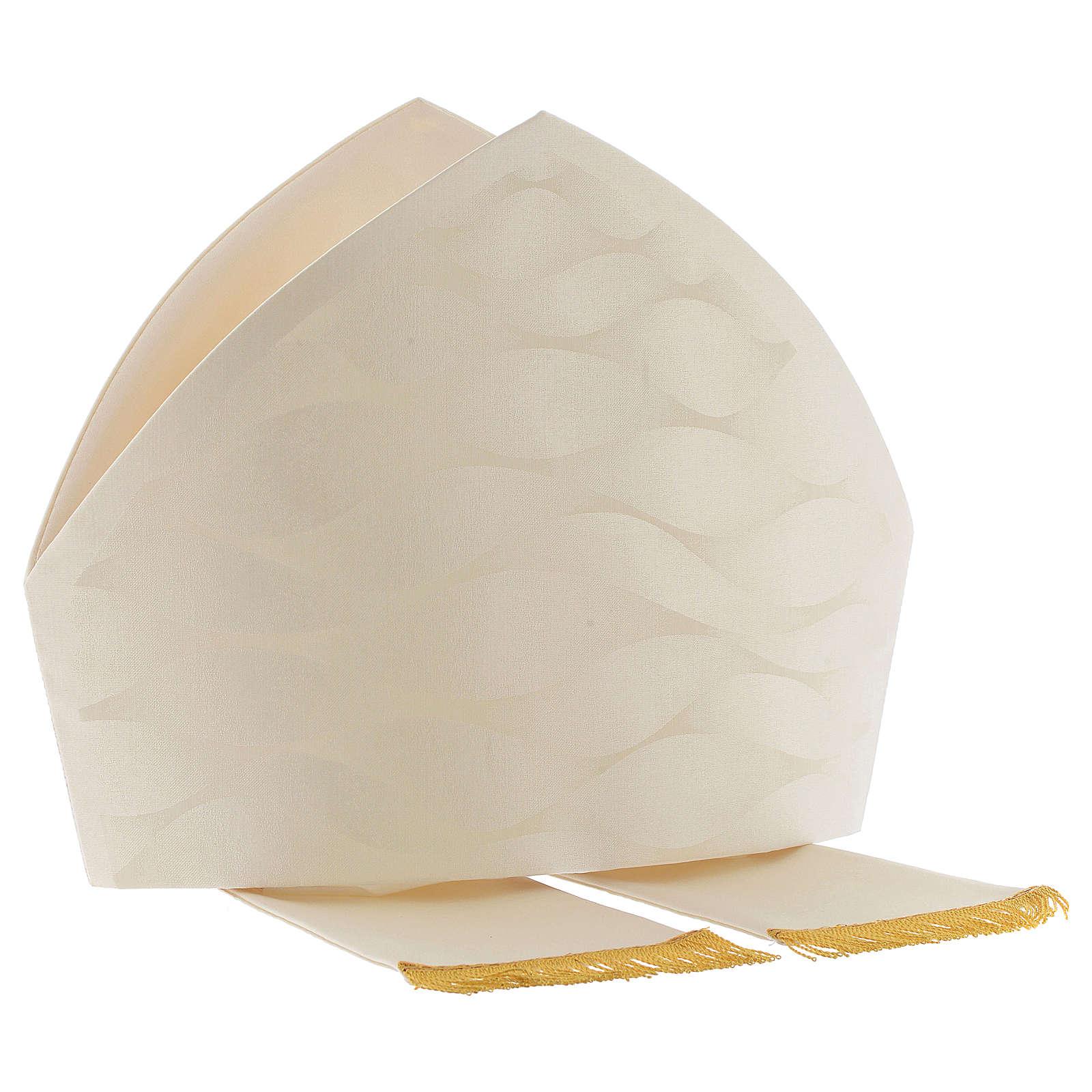 Mitra branca cor de marfim lã seda Jacquard 3