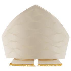 Mitra branca cor de marfim lã seda Jacquard s2
