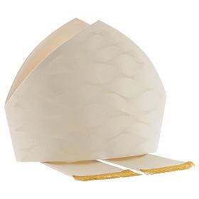 Mitra branca cor de marfim lã seda Jacquard s6