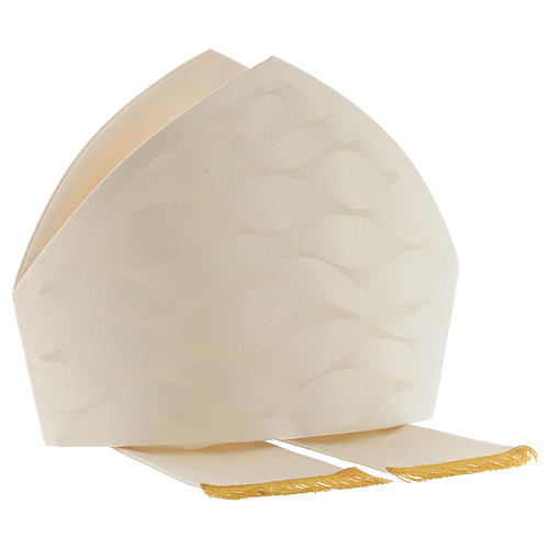 Mitra branca cor de marfim lã seda Jacquard 6