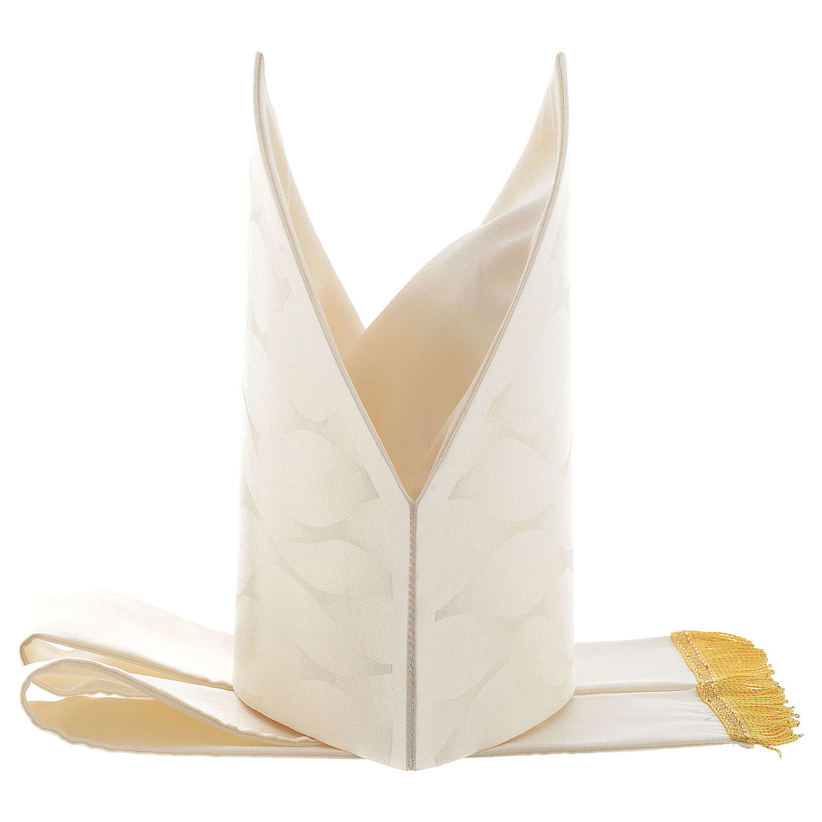 Mitre in wool and silk Jacquard, white and ivory 3