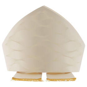 Mitre in wool and silk Jacquard, white and ivory s2