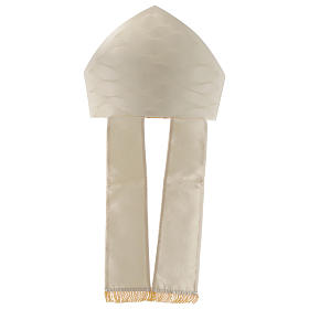 Mitre in wool and silk Jacquard, white and ivory s3