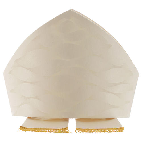 Mitre in wool and silk Jacquard, white and ivory 2