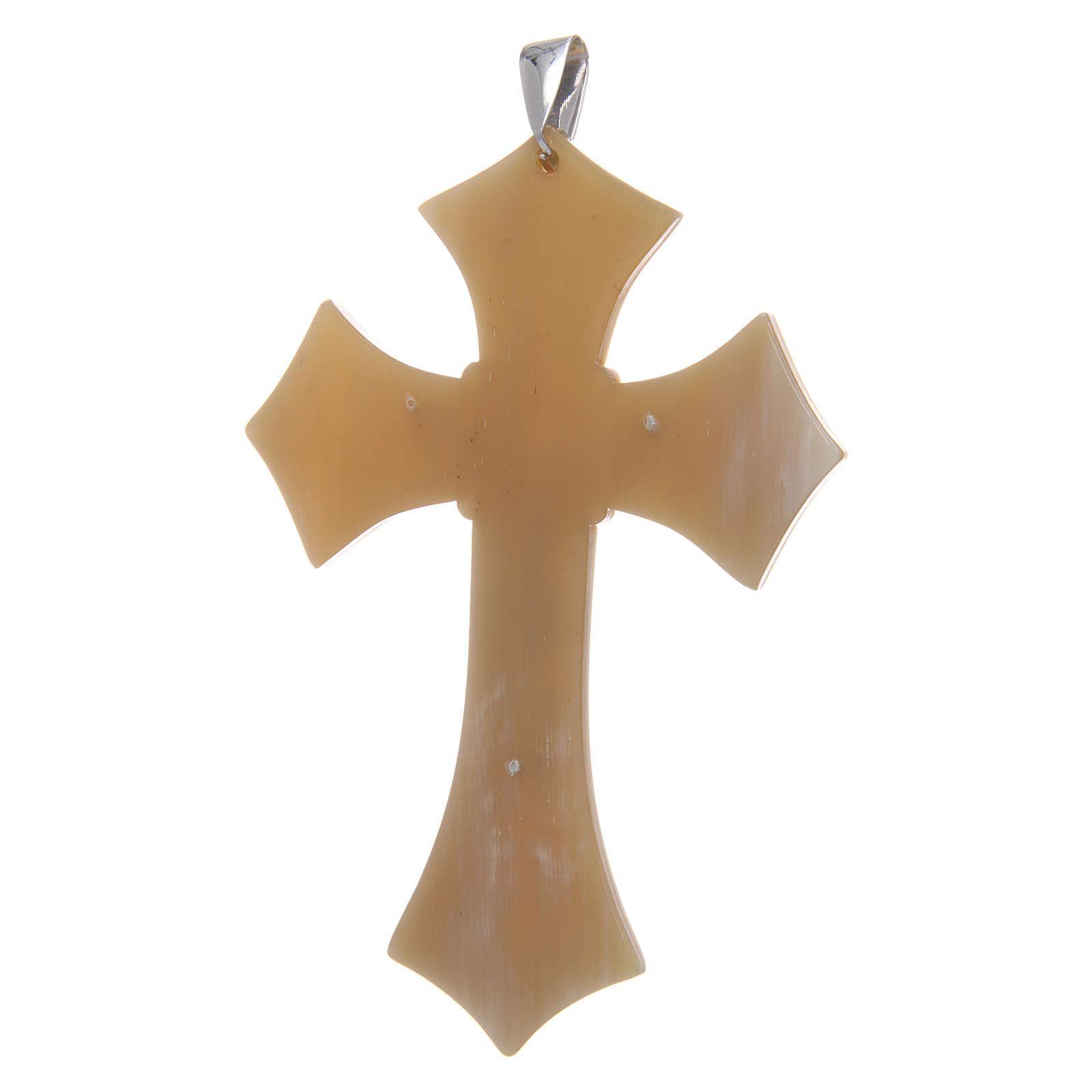 Croce per Vescovo in corno Cristo argento 925 rodiato bianco 3