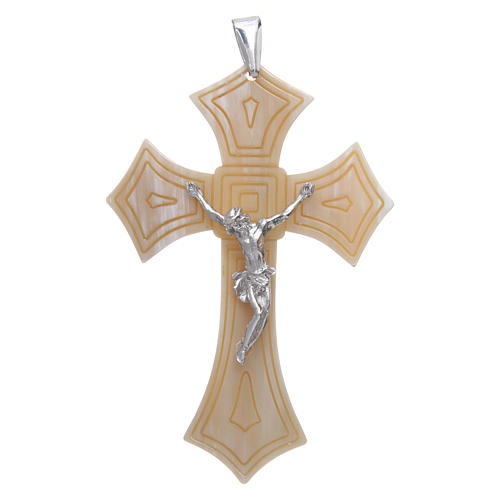 Croce per Vescovo in corno Cristo argento 925 rodiato bianco 1