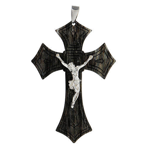 Episcopal cross in black rhodium 925 sterling silver and horn 3