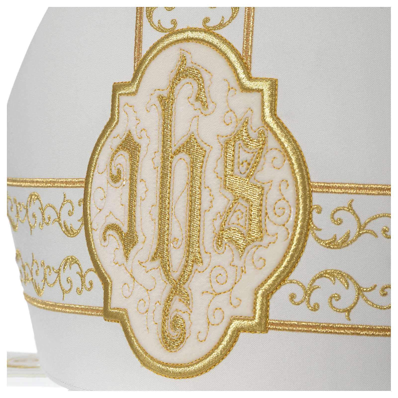 Mitra marfil bordados IHS terciopelo oro 3