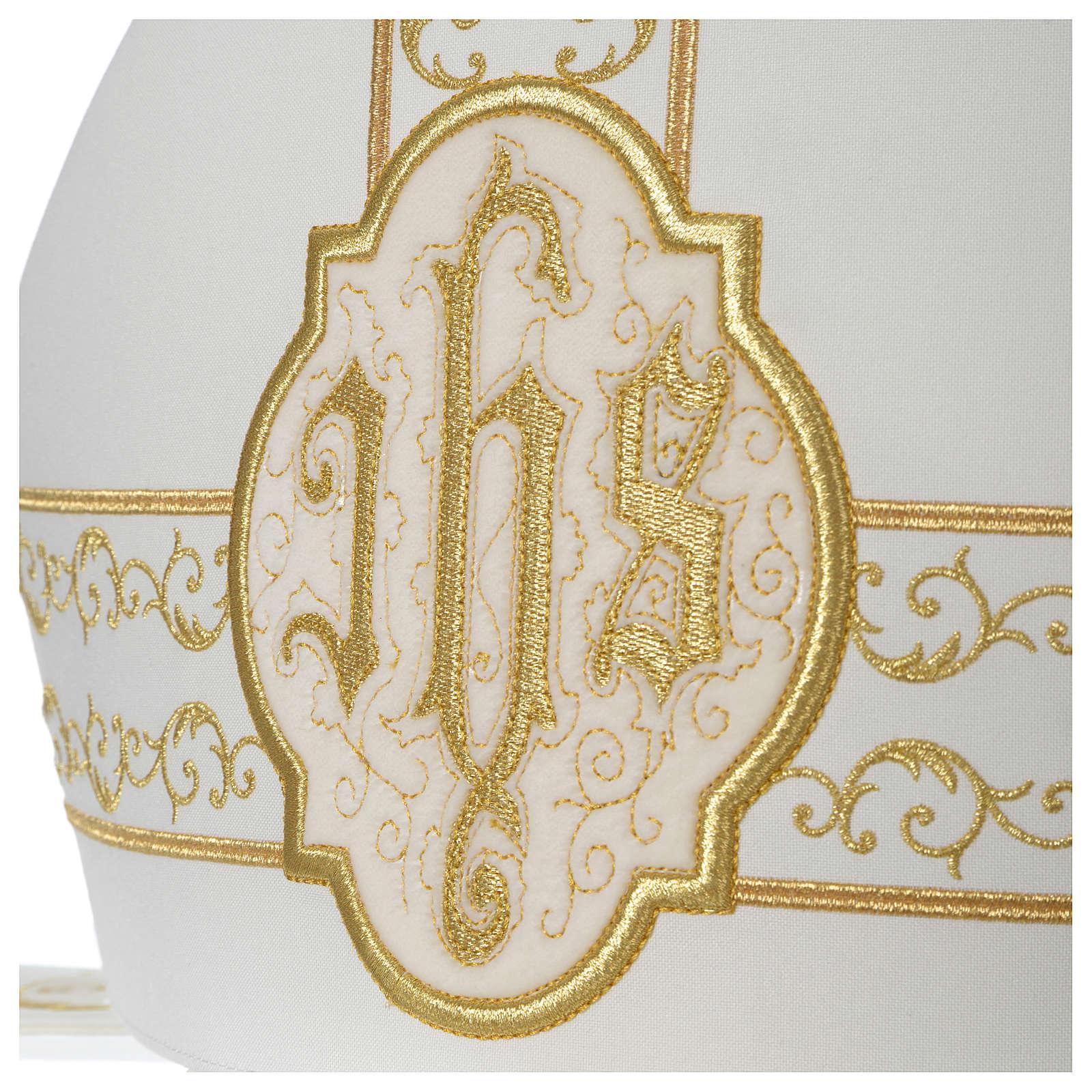 Mitra avorio ricami IHS velluto oro 3