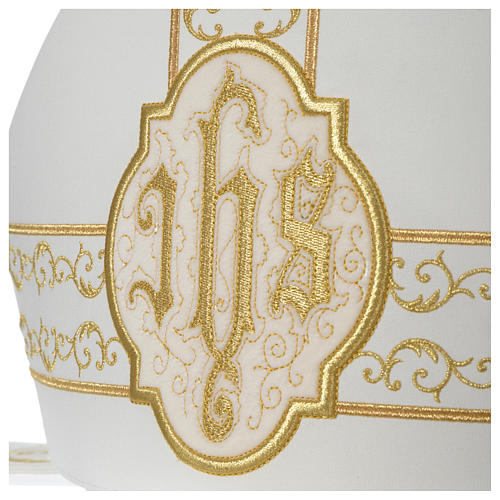Mitra avorio ricami IHS velluto oro 4