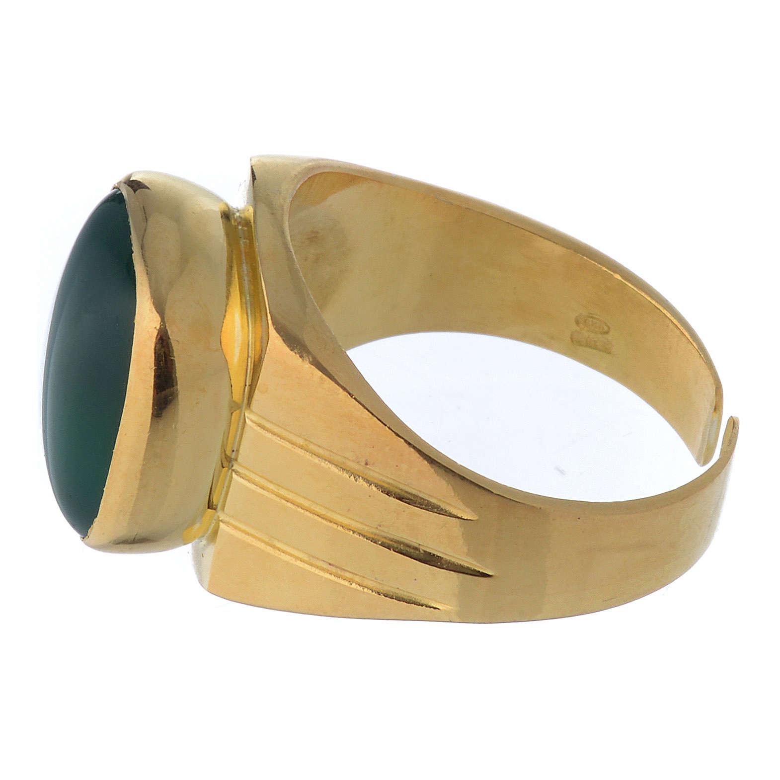 Anello vescovile argento dorato 800 agata verde 3