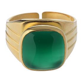 Anello vescovile argento dorato 800 agata verde s2